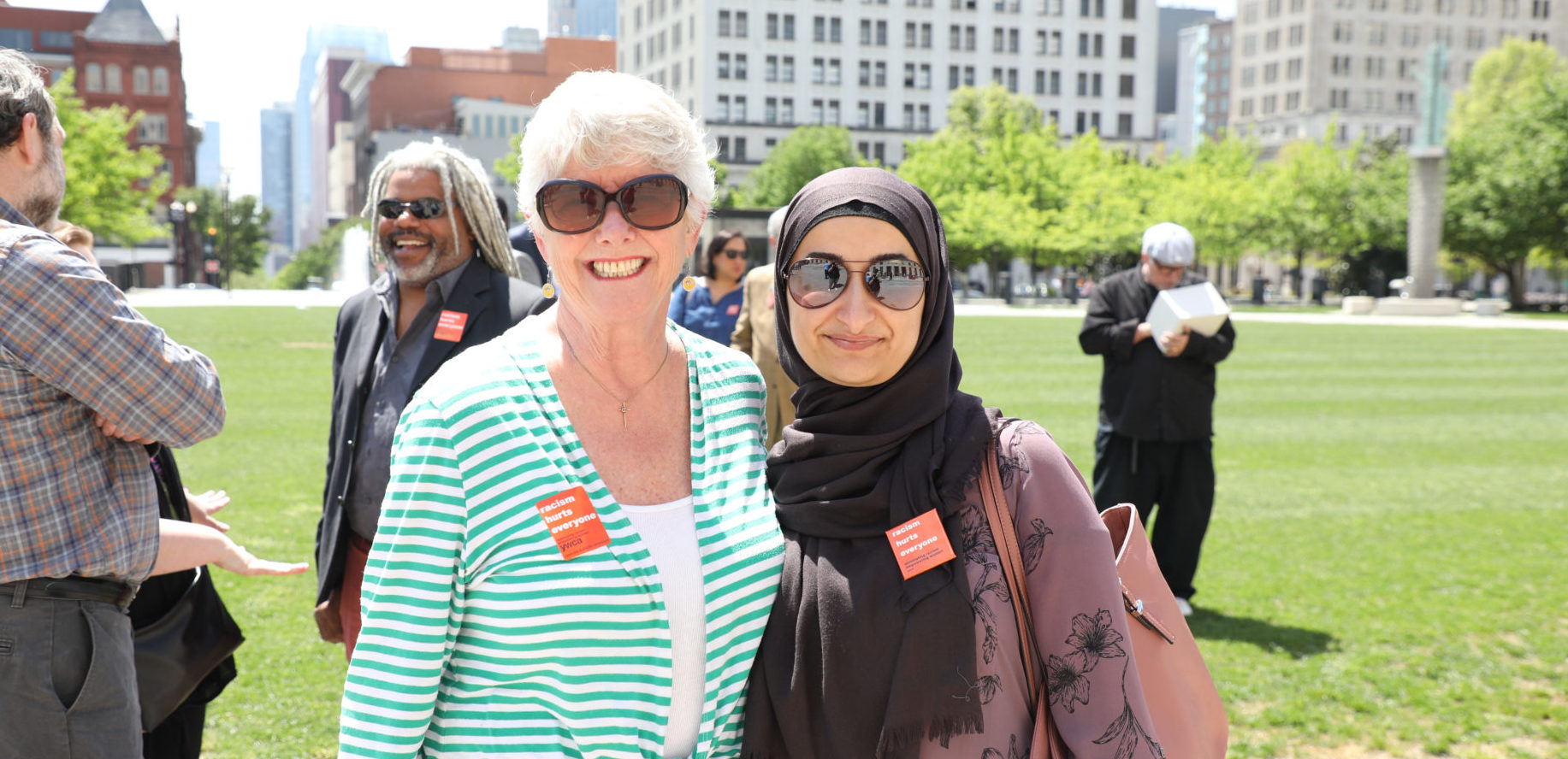 Susan Higgins and Kasar Abdullah at the 2018 Stand Against Racism